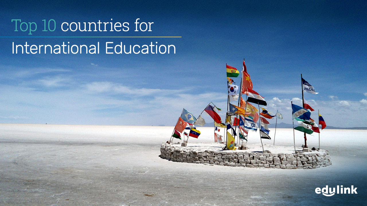 Flags of different countries fly from posts on the Salar de Uyuni (Salt Flats of Uyuni) in Bolivia